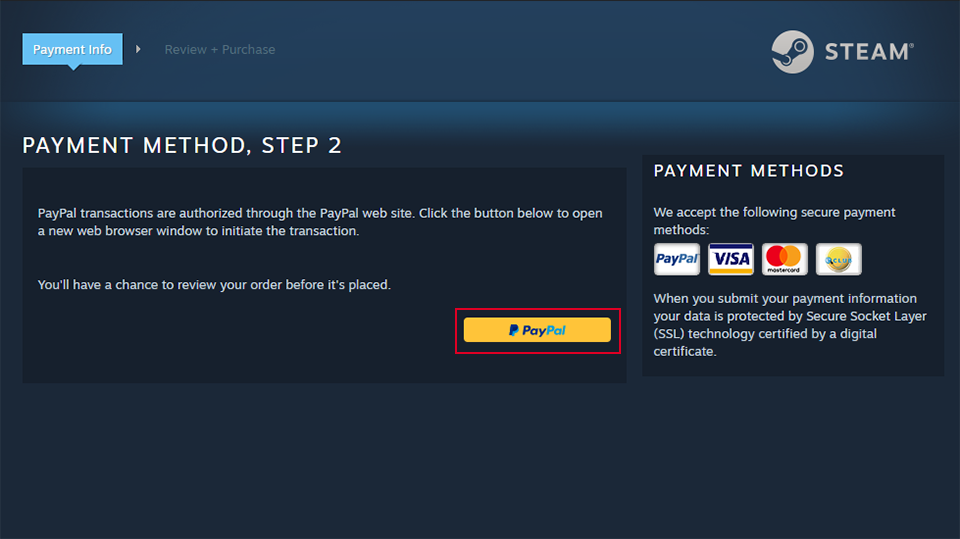 buy games on steam using paypal