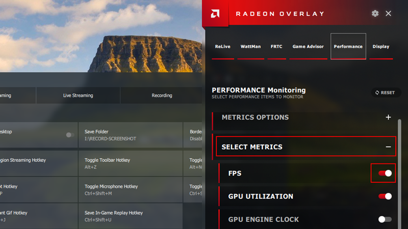 FPS Counter AMD Relive