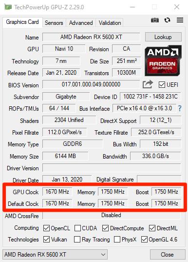 RX 5600 XT GPU-Z